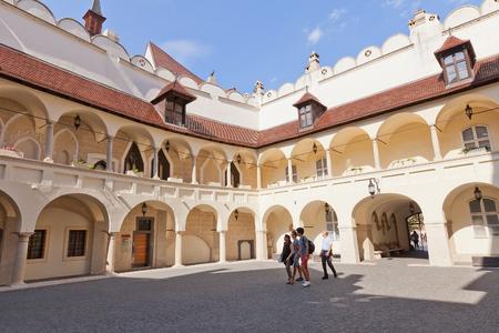 cc: BRATISLAVA, SLOVAKIA - AUGUST 24, 2015: Courtyard of Bratislava City Museum in the historic center of Bratislava, Slovakia. Former Old Town Hall (circa XVI cc.)