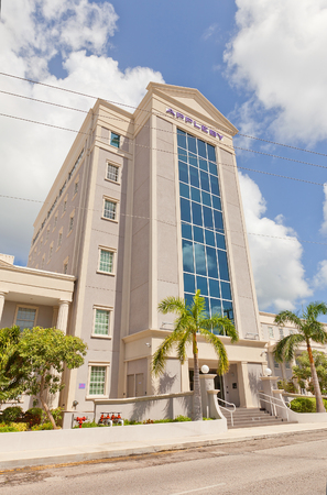 providers: GEORGE TOWN, CAYMAN ISLANDS - SEPTEMBER 19, 2015: Office of Appleby Firm in George Town of Grand Cayman. Appleby is one of the largest providers of offshore legal, fiduciary and admin services Editorial