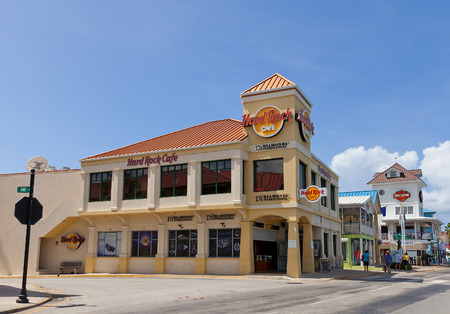 hard rock cafe: GEORGE TOWN, CAYMAN ISLANDS - SEPTEMBER 19, 2015: Famous Hard Rock Cafe in George Town of Grand Cayman, Cayman Islands British Overseas Territory. Opened in 2000