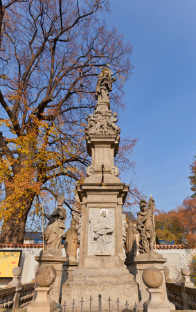 martyr: KUTNA HORA, CZECH REPUBLIC - NOVEMBER 04, 2015: Monument to John of Nepomuk near the Cemetery Church of All Saints in Sedlec UNESCO site. John of Nepomuk is famous saint and martyr of Bohemia Editorial