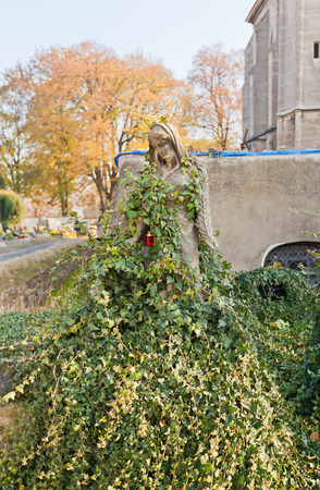 unesco in czech republic: KUTNA HORA, CZECH REPUBLIC - NOVEMBER 04, 2015: Statue of Our Lady covered in ivy near the Cemetery Church of All Saints UNESCO site. Church hosts famous Sedlec Ossuary Kostnice v Sedlci Editorial