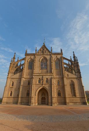 unesco in czech republic: KUTNA HORA, CZECH REPUBLIC - NOVEMBER 04, 2015: Front view of the Cathedral of Saint Barbara (circa XIV c.) in Kutna Hora town, Czech Republic. UNESCO World Heritage Site