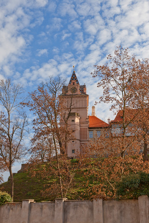 donjon: BRANDYS NAD LABEM, CZECH REPUBLIC - NOVEMBER 14, 2015: Main keep of the castle in Brandys nad Labem town, Czech Republic. Founded in XIV c., later reconstructed in baroque style for Habsburg family