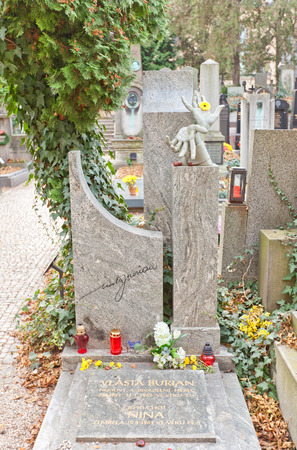 comedian: PRAGUE, CZECH REPUBLIC - NOVEMBER 12, 2015: Grave of Vlasta Burian in Vysehrad cemetery of Prague. Josef Vlastimil Burian (1891-1962) was a Czech actor, singer, comedian, footballer and film director