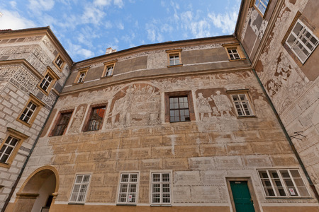 habsburg: BRANDYS NAD LABEM, CZECH REPUBLIC - NOVEMBER 14, 2015: Murals in courtyard of the castle in Brandys nad Labem, Czech Republic. Founded in XIV, later reconstructed in baroque style for Habsburg family Editorial