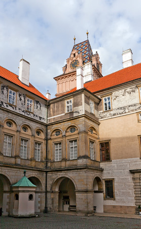 habsburg: BRANDYS NAD LABEM, CZECH REPUBLIC - NOVEMBER 14, 2015: Courtyard of the castle in Brandys nad Labem town, Czech Republic. Founded in XIV c., later reconstructed in baroque style for Habsburg family