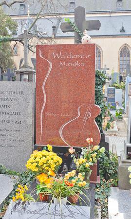 czechoslovak: PRAGUE, CZECH REPUBLIC - NOVEMBER 12, 2015: Grave of Waldemar Matuska in Vysehrad cemetery of Prague. Waldemar Matuska 1932-2009 was a Czechoslovak singer