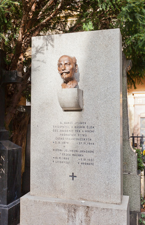 essayist: PRAGUE, CZECH REPUBLIC - NOVEMBER 12, 2015: Bust of Hanus Jelinek on his family grave in Vysehrad cemetery of Prague. Hanus Jelinek (1878-1944) was a Czech poet, essayist and theater critic Editorial