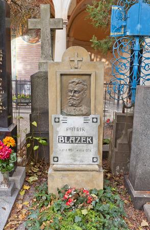 the publisher: PRAGUE, CZECH REPUBLIC - NOVEMBER 12, 2015: Grave of Patrik Blazek in Vysehrad cemetery of Prague. Patrik Blazek (1851-1905) was a Czech journalist, soldier, writer and publisher