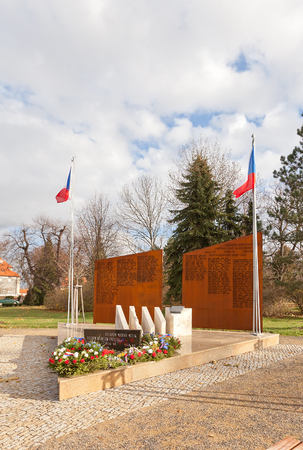nad: BRANDYS NAD LABEM, CZECH REPUBLIC - NOVEMBER 14, 2015: War Memorial in Brandys nad Labem town, Czech Republic. Dedicated to victims of world wars and battles for liberty