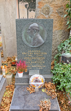 historian: PRAGUE, CZECH REPUBLIC - NOVEMBER 12, 2015: Vaclav Vojtisek family grave in Vysehrad cemetery of Prague. Vaclav Vojtisek (1883-1974) was a Czech historian, archivist, professor and academician