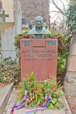 theologian: PRAGUE, CZECH REPUBLIC - NOVEMBER 12, 2015: Bust of Antonin Marek on his grave in Vysehrad cemetery of Prague. Antonin Marek (1785-1877) was a Czech poet, writer, theologian, philosopher, and priest Editorial