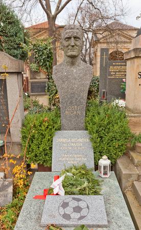 josef: PRAGUE, CZECH REPUBLIC - NOVEMBER 12, 2015: Bust of Josef Bican on his family grave in Vysehrad cemetery of Prague. Josef Bican (1913-2001) was an Czech-Austrian football striker Editorial