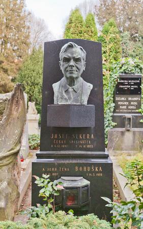 josef: PRAGUE, CZECH REPUBLIC - NOVEMBER 12, 2015: Bust of Josef Sekera on his family grave in Vysehrad cemetery of Prague. Josef Sekera (1897-1972) was a Czech writer Editorial