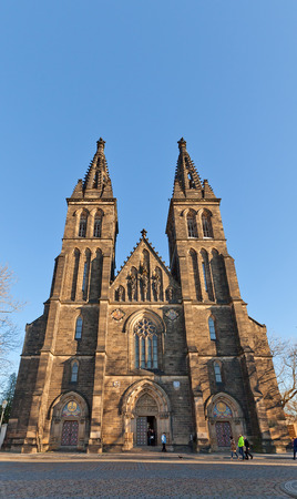 ecclesiastical: PRAGUE, CZECH REPUBLIC - DECEMBER 6, 2015: Basilica of St Peter and St Paul in Vysehrad of Prague (UNESCO site). Founded in 1070, current view since 1903, architects Joseph Mocker and Frantisek Miks Editorial