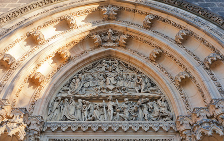 ecclesiastical: PRAGUE, CZECH REPUBLIC - DECEMBER 6, 2015: Tympanum of Basilica of St Peter and St Paul in Vysehrad of Prague (UNESCO site). Founded in 1070, current view since 1903