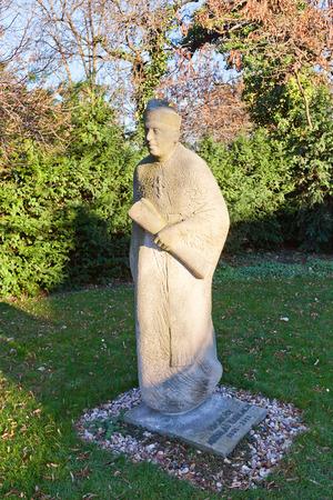 unesco in czech republic: PRAGUE, CZECH REPUBLIC - DECEMBER 6, 2015: Monument to Mikulas Karlach in Vysehrad of Prague UNESCO site. Mikulas Karlach 1831-1911 was a Czech Catholic priest and politician