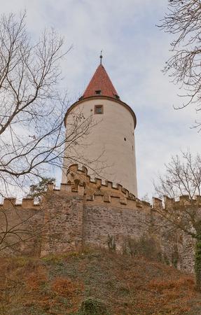 donjon: KRIVOKLAT, CZECH REPUBLIC - DECEMBER 13, 2015: Main keep of Krivoklat castle, Czech Republic. Founded in XII c., belonging to the kings of Bohemia, reconstructed in 1826 for Furstenberg family