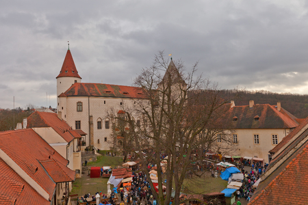 prison yard: KRIVOKLAT, CZECH REPUBLIC - DECEMBER 13, 2015: View of courtyard of Krivoklat castle, Czech Republic. Founded in XII c., belonging to the kings of Bohemia, reconstructed in 1826 for Furstenberg family Editorial