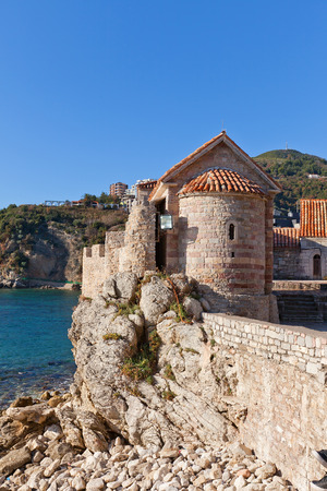 sanctified: BUDVA, MONTENEGRO - DECEMBER 26, 2015: Church of Saint Sabbas the Sanctified (St Sava the Anointed) in Old Town of Budva, Montenegro. Erected in XII c. close to Santa Maria in Punta Church
