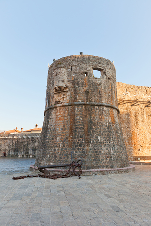 extant: BUDVA, MONTENEGRO - DECEMBER 27, 2015: Gradenigo tower, extant part of Old Town defense system of Budva, Montenegro.