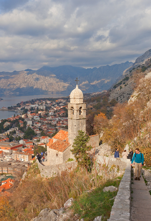 ecclesiastical: KOTOR, MONTENEGRO - JANUARY 02, 2016: Church of Our Lady of Remedy (circa 1518) on the slope of the St. John Mountain in Kotor, Montenegro. World Heritage site of UNESCO