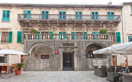 pima: KOTOR, MONTENEGRO - JANUARY 02, 2016: Palace of Pima family circa 17 c. in Old Town of Kotor, Montenegro. World Heritage site of UNESCO
