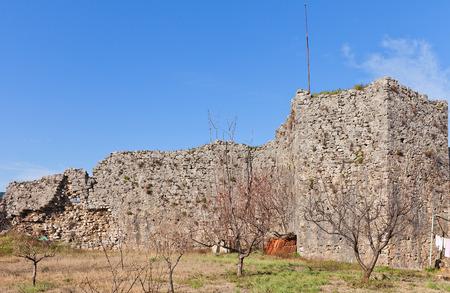 ottoman empire: PODGORICA, MONTENEGRO - JANUARY 23, 2016: Ruins of Depedogen Fortress (Nemanjin Grad) in Podgorica, Montenegro. Erected in 1477 by Ottoman Empire above the confluence of Ribnica and Moraca rivers Stock Photo