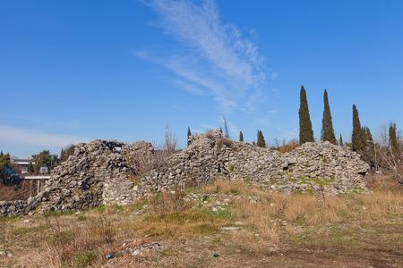 ottoman empire: PODGORICA, MONTENEGRO - JANUARY 23, 2016: Ruins of Depedogen Fortress Nemanjin Grad in Podgorica, Montenegro. Erected in 1477 by Ottoman Empire above the confluence of Ribnica and Moraca rivers