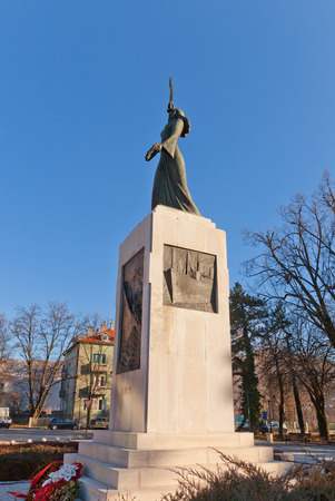 drowned: CETINJE, MONTENEGRO - FEBRUARY 06, 2016: Monument Spirit of Lovcen (Lovcenska vila, 1939) in Cetinje, Montenegro. Commemorates Montenegrin emigres drowned while returning from USA to fight in WWI