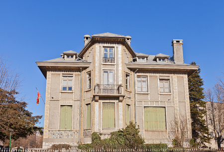 former yugoslavia: CETINJE, MONTENEGRO - FEBRUARY 06, 2016: Former French Embassy (circa 1909) in Cetinje, Montenegro. Today houses Central National Library