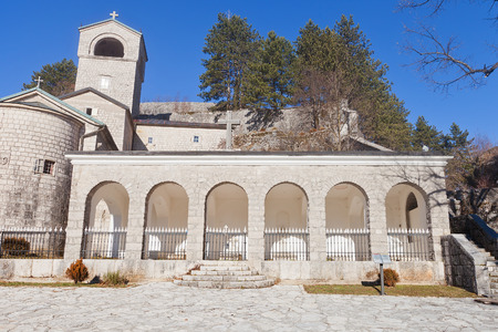 serb: CETINJE, MONTENEGRO - FEBRUARY 06, 2016: Cetinje Monastery in Montenegro. Founded in 1484 by Ivan Crnojevic, current view since 1927. Seat of Eparchy of Montenegro and Littoral of Serb Orthodox Church