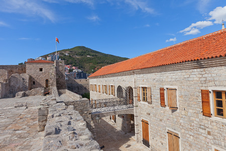 siege: BUDVA, MONTENEGRO - MARCH 09, 2016: Inside the Citadel (Castel St Mary) of Old Town of Budva, Montenegro. The fortress was mentioned for the first time in ancient chronicles in 1425 Editorial