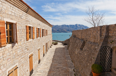 mentioned: Inside the Citadel (Castel St Mary) of Old Town of Budva, Montenegro. The fortress was mentioned for the first time in ancient chronicles in 1425