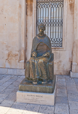 marin: DUBROVNIK, CROATIA - JANUARY 20, 2016: Monument to Marin Drzic in Dubrovnik, Croatia.  Marin Drzic (1508-1567) is considered the finest Croatian Renaissance playwright and prose writer
