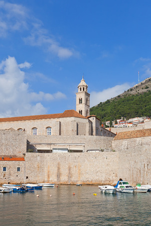 ecclesiastical: DUBROVNIK, CROATIA - FEBRUARY 19, 2016: View of fortified Dominican Monastery (founded in 1315) from Old Port of Dubrovnik, Croatia. World Heritage site of UNESCO Editorial