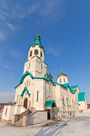march 17: YUZHNO-SAKHALINSK, RUSSIA - MARCH 17, 2016: Orthodox Resurrection Cathedral in Yuzhno-Sakhalinsk, Russia. Erected in 1994 Editorial