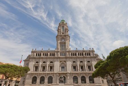 silva: PORTO, PORTUGAL - MAY 26, 2016: Municipality building (City Hall, early 20th c.) at Aliados Avenue in the historic center of Porto, Portugal (UNESCO site). Architect Correia da Silva
