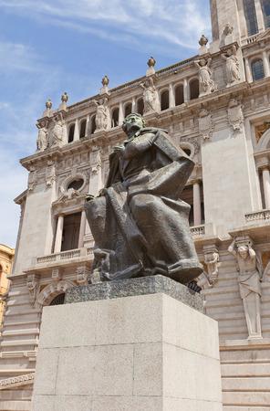 playwright: PORTO, PORTUGAL - MAY 26, 2016: Monument Almeida Garett near City Hall in the center of Porto (UNESCO site). Almeida Garett (1799-1854) was a Portuguese poet, playwright, novelist and politician