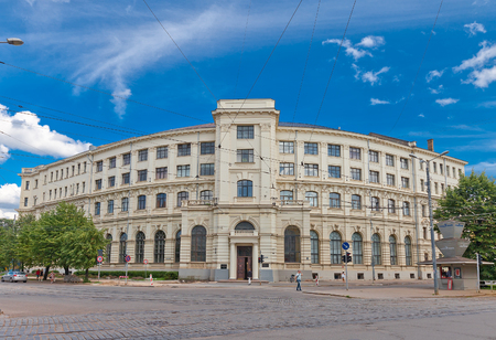 faculty: RIGA, LATVIA - JUNE 29, 2016: Minor building (circa 19th c.) of University of Latvia on the Aspazijas (former Theater) Boulevard in Riga. Hosts Faculty of Economics and Management Editorial