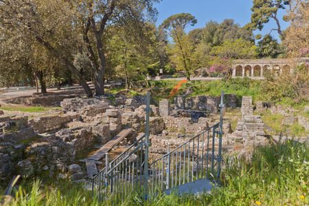 ecclesiastical: NICE, FRANCE - APRIL 11, 2016: Ruins of the Cathedral (circa 15th c.) in Castle Hill in Nice, France. Located on the grounds of former medieval castle