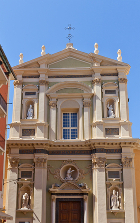 classed: NICE, FRANCE - APRIL 11, 2016: Facade of Cathedral of Saint Reparata (circa 1699) in Nice, France. Architect Jean-Andre Guibert. Has been classed as a monument historique since 1906 Editorial