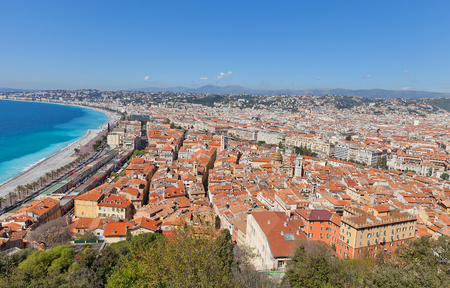 View of historic center of Nice, France from the Castle Hill. Nice (Nicaea) was probably founded around 350 BC by the Greeks of Massilia