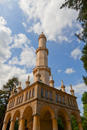 LEDNICE, CZECH REPUBLIC - MAY 29, 2016: Moorish Revival style Minaret observation tower (circa 1804) in Lednice Palace garden in Czech Republic. UNESCO World Heritage Site Editorial