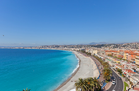 View of the beach and esplanade in Nice, France from Bellanda Tower of Castle Hill. Nice (Nicaea) was probably founded around 350 BC by the Greeks of Massilia