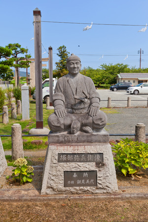 vendetta: AKO, JAPAN - JULY 18, 2016: Statue of Horibe Akizane, one of famous 47 ronins, in the Oishi Shinto Shrine. Shrine is dedicated to 47 loyal samurais and is located on the grounds of Ako Castle