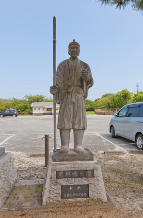 vendetta: AKO, JAPAN - JULY 18, 2016: Statue of Takebayashi Tadashichi Takashige, one of famous 47 ronins, in the Oishi Shrine. Shrine is dedicated to 47 loyal samurais and is located on grounds of Ako Castle
