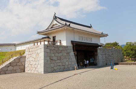 siege: AKO, JAPAN - JULY 18, 2016: Inner Honmarumon gate (gate of main bailey, yaguramon type, restored in 1996) of Ako Castle (circa 17th c.). Castle was a seat of Lord Asano Naganao