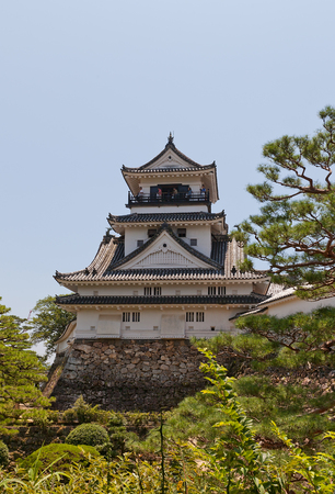 KOCHI, JAPAN - JULY 19, 2016: Main keep (tenshukaku) of Kochi castle (circa 18th c.), Shikoku Island, Japan. Kochi is one of only 12 survived castles in Japan