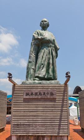 kochi: KOCHI, JAPAN - JULY 19, 2016: Statue of Sakamoto Ryoma in front of Kochi railway station, Japan. Sakamoto Ryoma (1836-1867) was a leader of anti-shogun movement during Bakumatsu period Editorial